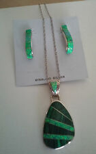 925 Fine Sterling Silver Opal Malachite Pendant Necklace Earrring Set New Mexico