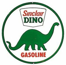 "Sinclair Dino Gasoline 12"" Round Vintage Style Metal Signs Dinosaur Oil Gas Pump"