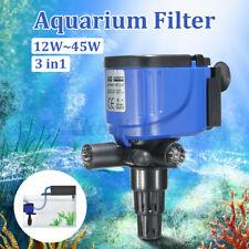 3 in 1 Aquarium Powerhead Fish Tank Submersible Water Filter Oxygen Pump &