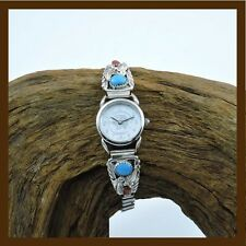 filigree ladies watch feather with turquoise,coral stone,925 sterling silver