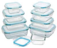 Glass Food Storage Container Set Rectangular Microwave Oven Safe Set UK