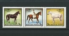 Horses strip of 3 mnh stamps 1989 Hungary #3173
