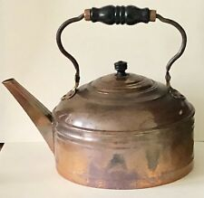 Antique Large Copper Kitchen Stove Hot Water Kettle Tea Pot Turned Wood Handle