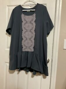 """Plus Size 3X LOGO Lounge Short Sleeve Top with Front Embroidery 8"""" Ruffled Hem"""