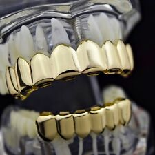 Grillz Set Gold Finish Eight 8 Top Teeth & 6 Bottom Tooth Plain Hip Hop Grills