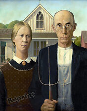 Wall Art Grant Wood's The American Gothic Painting Year 1930  11x14