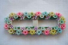 1 Vintage Carved Tiny Pastel Flowers Celluloid Plastic Doll Belt Buckle Japan