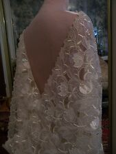 4.45yds ITALIAN SPOSABELLA EMBROIDERED ORGANZA LACE FABRIC SATIN FLOWERS SEQUIN