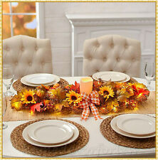 "35"" LED Lighted Thanksgiving Centerpiece Floral Fall Harvest Table Holiday Decor"