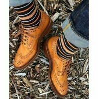 Handmade Men's Wing Tip Good Year Welted Shoes, Men Tan Brogue Dress Shoes