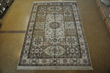 6 x 9 Ivory Bakhtiari Traditional Handmade Silk Carpet Area Rug