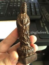 Old chinese style sculpture boxwood carved Kwan-yin Figures size 4 inch statue