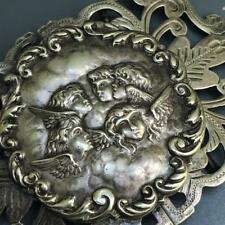 Angels Face belt buckle Antique Victorian Epns silver plated