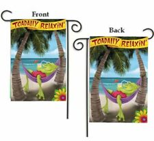 """TOADILY RELAXIN' TROPICAL SUMMER FROG 2-SIDED YARD GARDEN FLAG 12"""" X 18"""""""