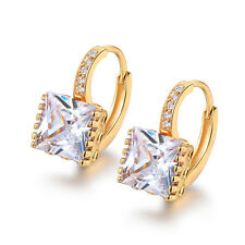 Classic Square Diamond Yellow Gold Filled Huggies Women Wedding Party Earrings