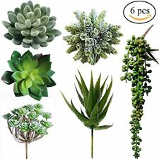 Winlyn 6 Pcs Unpotted Fake Succulents Assorted Faux Succulent in Different Green