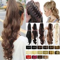 Long Thick 100% Natural Jaw Ponytail Hair Extensions Claw/Clip in Pony Tail FO96