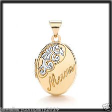 9ct Gold Locket Oval MUM engraved picture #Locket LK0127 Jewellery Company