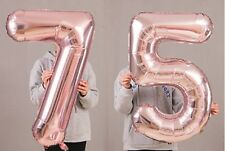 "75th Birthday Party 40"" Foil Balloon HeliumAir Decoration Age 75 Rose Gold lite"