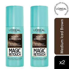 2 Pk L'Oreal Paris Magic Retouch Instant Root Concealer Spray Medium Brown, 75ml
