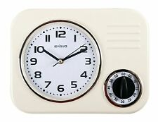 Metal Kitchen Wall Clock • Retro Styling • Mechanical Cooking Timer • Ivory