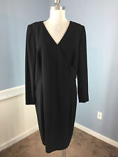 RENA LANGE Wool Blend Black Sheath Dress Career Cocktail Excellent 46 US 14