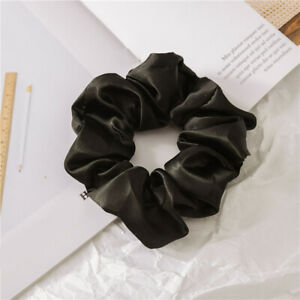 Women Satin Silk Pure Color Hair Ring Elastic Scrunchie Ponytail Holder Hairwear