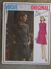 Vintage 1970s Vogue Paris Original Dress Suit Pattern Molyneux Uncut FF 34 Label