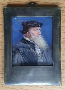 Beautiful miniature portrait of a Tudor Gentleman.  By M.E. Hewkley