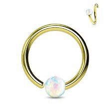 Steel Body Jewelry Piercing Nose Hoop Ring Goldtone 16G (8mm) Created-Opal Ball