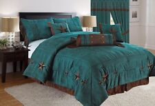 Rustic Turquoise Embroidery Texas Star Western Luxury Comforter Suede -7Pc Queen