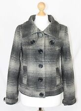Pull and Bear Grey Striped Wool Mix Funnel Neck Collared Jacket Coat size S
