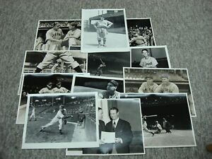 12 PHOTOGRAPHS 1920-50'S BASEBALL 11 x 14 RUTH WAGNER GEHRIG, ETC.! EX. COND.
