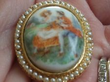 Vintage Porcelain Lovers Pearl  Gold Tone Victorian Style Antiqued Cameo