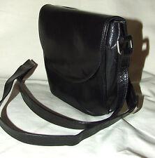 Authentic PICARD Real Leather BLACK Cross Body Shoulder Bag Purse Vintage