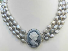 3 ROWS SILVER GRAY REAL CULTURED PEARL NECKLACE EMBOSSED QUEEN'S AAA0R