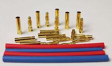 10Paar Goldstecker 4mm für RC Modellbau und Elektronik mit Schrumpfschlauch