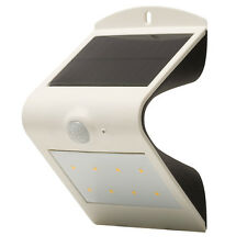 Luceco PIR Wall Light White Outdoor Solar Powered Guardian 3000K White LED IP44
