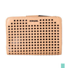 RRP €110 DIESEL BUSY-NESS Perforated Genuine Leather Popper Flap Clutch Wallet