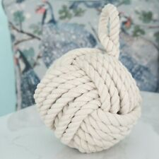 Shabby Chic Coastal Blue Large Rope Ball Nautical Door Stop