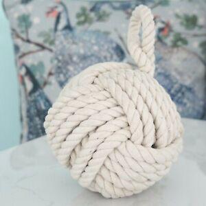 Sailors Knot Heavy Natural Rope Doorstop Off-White Hamptons Coastal Decor