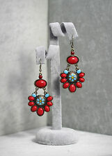 Boucles d`Oreilles Ethnique Rouge Doré Fleur Turquoise Original Retro Cadeau E1