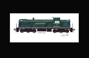 "Adirondack Railroad RSC2 #25 11""x17"" Matted Print Andy Fletcher signed"