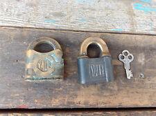 2 Antique Yale & Town Padlocks Plus a Yale #2 Key
