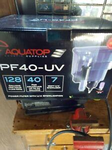 """Aquatop Power Filter with UV Sterilizer 7 Watts - 128 GPH - 8.5""""L x 6.5""""W x 1..."""