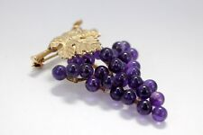 Grape Cluster Brooch in 14kt Gold with Natural Amethyst Gemstones