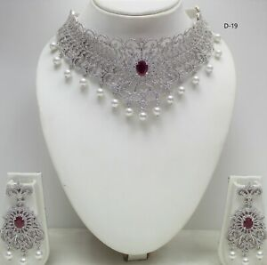 Indian Bridal Jewellery Bollywood American Diamond Party Wear Necklace set new
