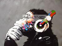 "dj monkey Framed Canvas Print Art Painting 20"" x 16""  street graffiti"