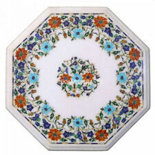 """24"""" Marble Coffee Table Top Marquetry Semi Precious Inlay Kitchen Decor Gift"""