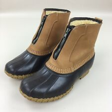 LL Bean Brown Duck Boots Lounger Shearling Lined Zip Up Maine Made Size 7W Wide